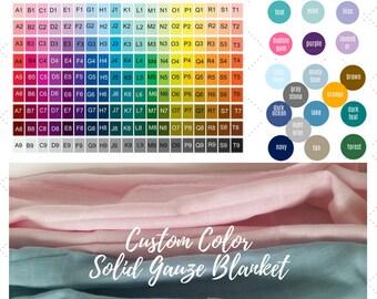 Triple Layer CUSTOM DESIGN COLORS - Solid Color Gauze Blanket - Kids Blanket, Toddler Throw Blanket - Create your Solid Color Muslin Blanket