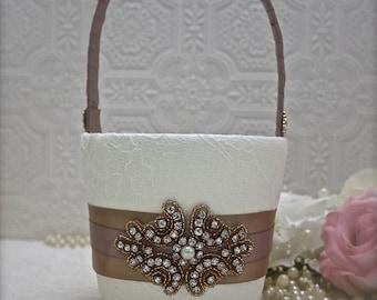Flower girl basket, rose gold and blush wedding, rose gold flower girl basket, blush flower girl, wedding basket, rose gold ring pillow