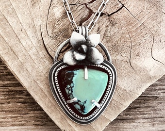 Sterling silver succulent and turquoise necklace, botanical jewelry, statement necklace