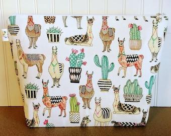 Knitting Bag with Llamas and Cacti