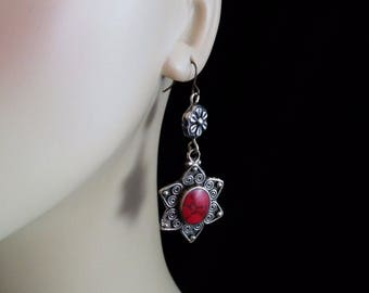 "2.5"" Long Kuchi RED Stone Flower Earrings Pretty Ethnic Tribal Bohemian Jewelry"