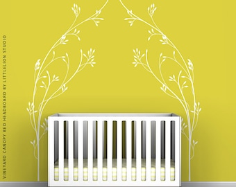 White Vineyard Canopy Bed Headboard Wall Decal by LittleLion Studio