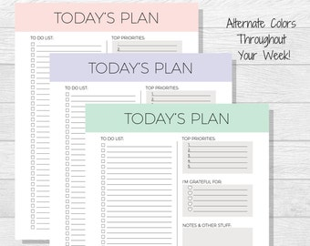 Daily Planner Printable - Today's Plan - Daily Schedule - Daily To Do List - Elegant Planning - Daily Organizer - Planner Download - Simple