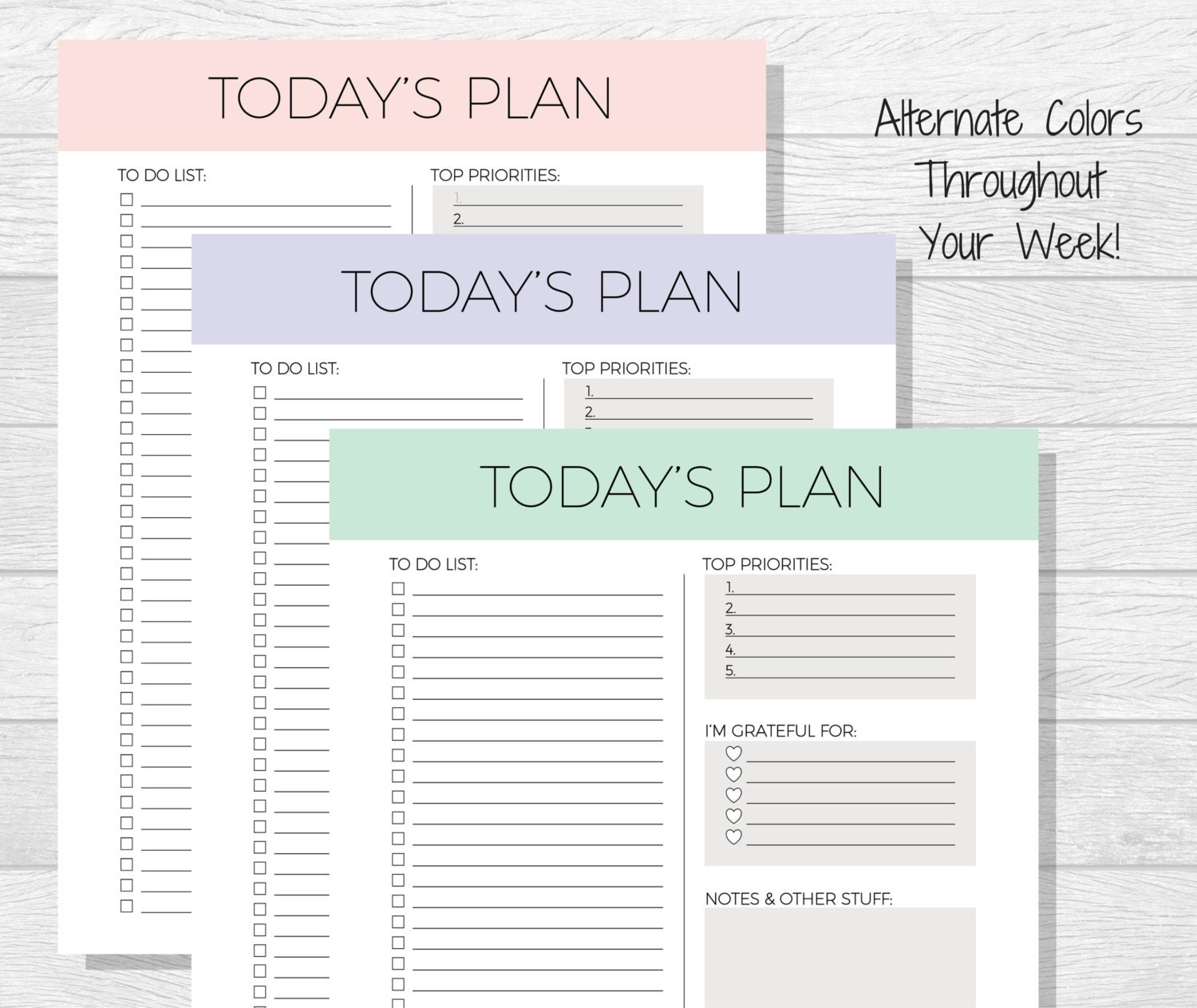Daily Planner Printable Today\'s Plan Daily Schedule