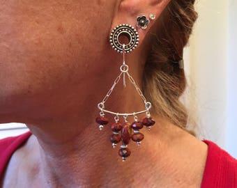 Gypsy tunnel earrings in jasper