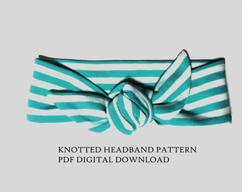Knot Headband PDF Pattern, Jersey PDF Headwrap Pattern,Headwrap Sewing Pattern,Girls Head wrap,Tutorial,baby head wrap
