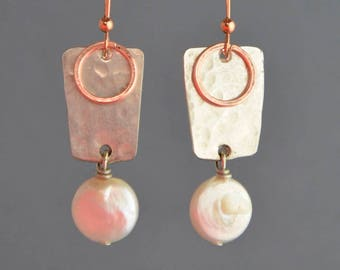 Geometric hammered silver plate earrings & white fresh water pearls