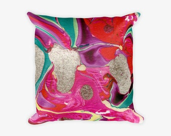 Multicolor Marbling Pattern Pillow Case