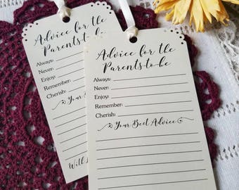 Set of 12 Baby Shower Advice Tags for the Mommy to be Wishing Tree Tags - Advice for Mommy-to-be / Parents / Daddy to be / Vintage Rustic