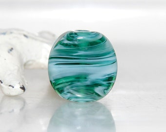 Emerald Green and White Lampwork Glass Bead