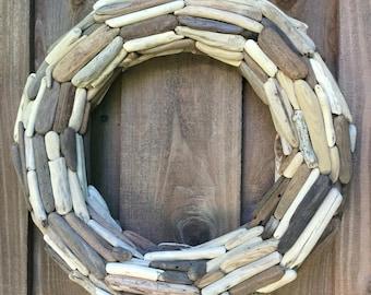 "20"" Driftwood Wreath, double sided - Northern California Drift wood - Coastal Decor - Twig Wreath - Beach Art"