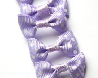 x 5 bows in purple polka dot white 30 * 15 mm