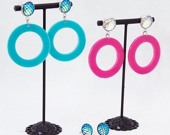 Mermaid Dragon Scale Hoop Earrings Dangling Post Earrings Hoops (Hot Pink + Turquoise)
