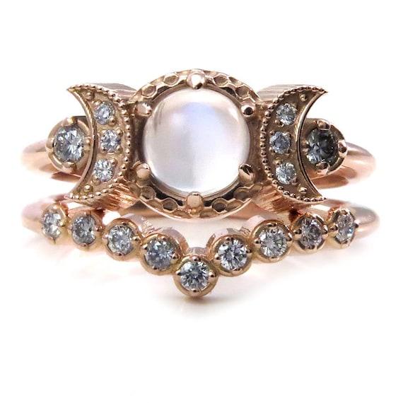 Cosmic Moon Mistress Engagement Ring Set - Diamonds and Moonstone Moon Phase Wedding Rings