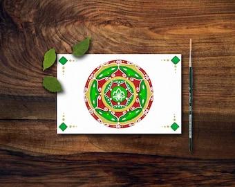 Mandala su cartolina con fiore di loto e simboli buddisti e induisti; aceo ad acquerello, ideale come regalo per amici.