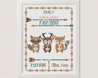 baby Cross stitch Birth announcement Fox deer raccoon cross stitch pattern  birth sampler new baby girl birthday gift  aztec tribal arrows