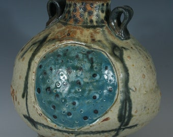 Handmade Ceramic Blue Dot Bottle