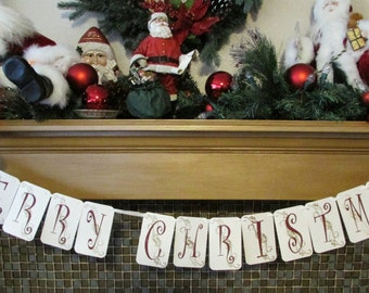 Merry Christmas Banner for mantel or photo shoots handmade Gold Embossed