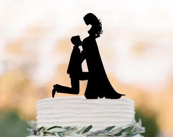 pregnant bride Wedding Cake topper funny,   Bride and groom silhouette , cake decor, long hair bride