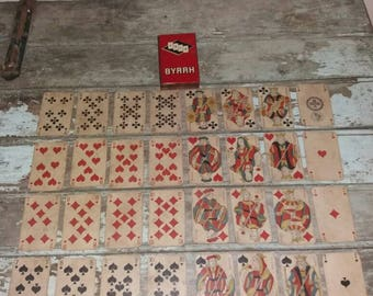 Rare Set Of 32 French 1890 Repubilque Francaise Playing Cards With BYRRH 1950's Card Tin,Old Vintage,Cards,Gift,Gift For Him,Collectible