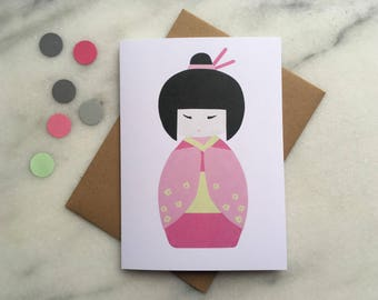 Japanese Card, Kokeshi Doll Card, Geisha Card, Japanese Birthday Card, Spring Greeting Card,  Mothers Day Card, Card for Mum, Card for Girl