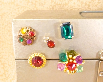 Vintage fridge jewelry - upcycled vintage jewelry magnet set - gold, bronze, red, green, yellow, purple, rhinestones, beads