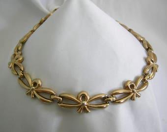 MONET Bows Necklace | Gold Tone Linked Bows Necklace | Vintage 1980s