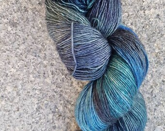 Luxury Hand dyed yarn for shawls  merino/ yak/ silk  120g . Dozmary Pool