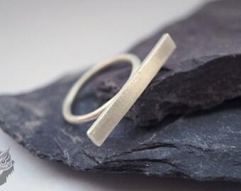 Sterling Silver Horizontal Bar Ring ~ statement ring, modern