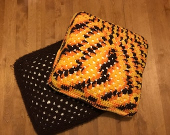 Vintage Knit/Crochet Cover Throw Pillows -- Set of Two