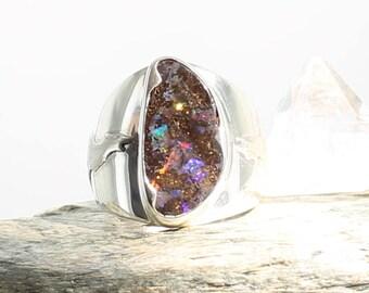 Wolf Boulder Opale Silver Ring. Size: 8.25. Natural stone. Gemstone ring. Gemstone opal ring.Men's Opal Ring .Boulder opal cabochon.ApsarasV