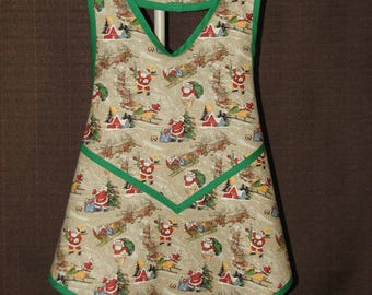 Kids apron Childs apron Christmas apron 1920s Retro apron Retro inspired apron Vintage style Full apron gift from grandmother