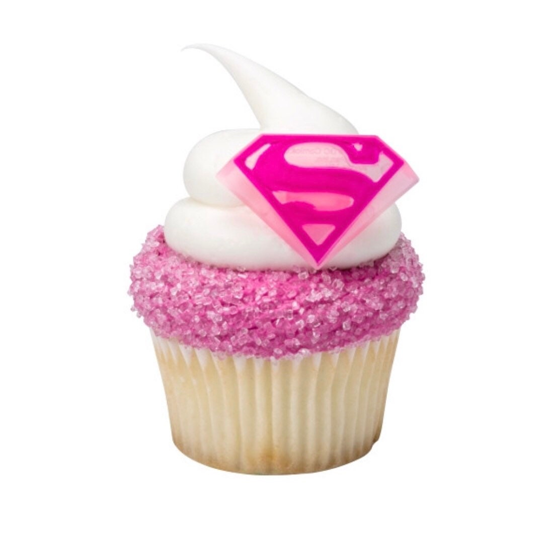 24 Supergirl Cupcake Toppers Superhero Cake Birthday Decorations From