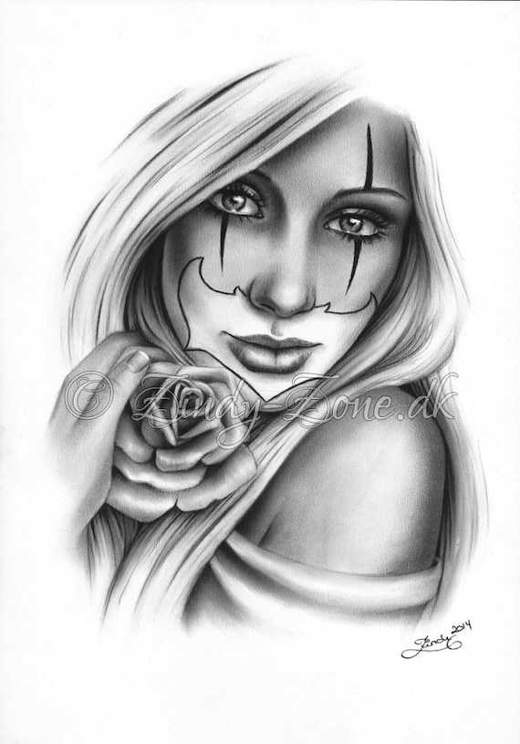 Chicano Art Coloring Pages Sweet Chicano Tattoo Clown Girl Rose Art Print Glossy Emo