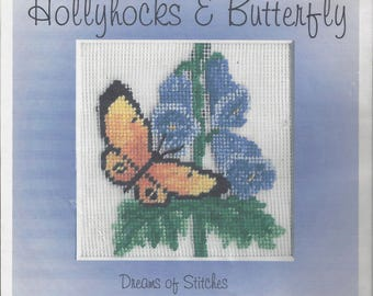 """Clearance - """"Hollyhocks & Butterfly"""" Silk Gauze Kit by Dreams of Stitches"""