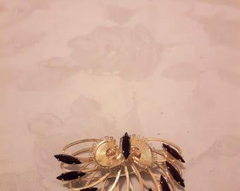 Vintage Emby Sterling Gold Washed Ruby Red Rhinestones Brooch - 1960s - Wedding/Bridal/Anniversary/Birthday