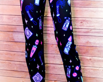 Sexy Time, Leggings for Adults, Sex Toy Party, Plus Size, Dildo, Flogger, BDSM Gift, Kawaii, Penis, Pastel Goth Clothing