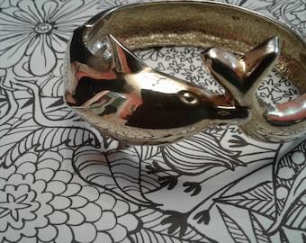 Goldtone Dolphin Hinged Bangle Bracelet