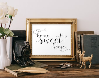 Instant. Home Sweet Home. 8x10 and 5x7. Printable Art. Wall Art Decor. Cozy home Art Print. Inspirational Family Quote. Heart Warming Art.