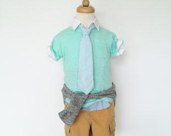 Blue and Green Seersucker Necktie for Boys