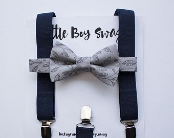 Boys Grey Bow Tie and Navy Suspenders, Boys Clothes, Boys Cake Smash Outfit, Ring Bearer Outfit, Boy Gift, 1st Birthday Boy, Navy Wedding