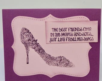 Best Friend Card, High Heels Shoe Card, Whimsical Card for Diva, Fashionista Birthday, Card for Sister, Handmade BFF Birthday Card for Her