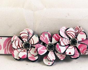 Unique Leather Handmade Bracelet,  Leather Bracelets for Women, Flower Jewelry, Boho Jewelry, Cuff Bracelet