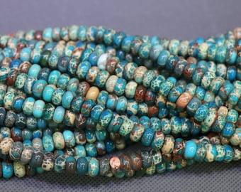 15.5inch 5x8mm Imperial Jasper, 2strands Sea Jasper, Sediment Statement Stone Pendant Beads, Flat Slab Nugget Drilled Loose Beads