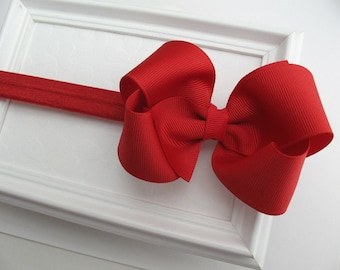 "Red Baby Bow Headband, Christmas Headband, Infant Headband, 4"" Red Hair Bow Headband, Newborn Headband, Red Bow Headband, Red Headband"