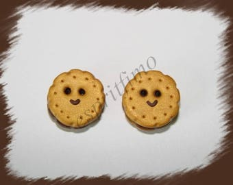 """""""Smiling cookie biscuit chocolate"""" button Fimo"""