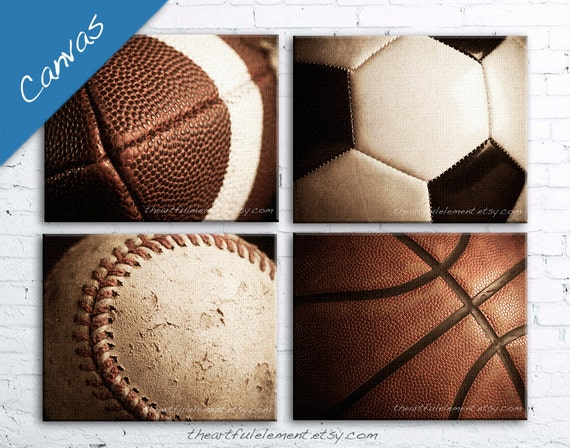 Large wall art, Sports, Canvas art, Home decor, Teen room decor, Set of 4 on Canvas / Basketball Football Baseball Soccer