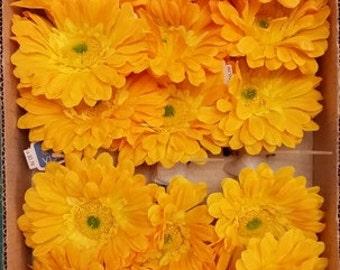 Gerbera Daisies Silk Flowers in Orange, Yellow - Bulk as low as .75 or Individual