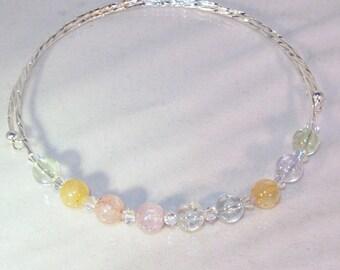 Gemstone and Swarovski Crystal Necklace - Ice Flake Quartz