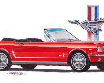 1965 Mustang Convertible 18x24 inch Art Print by Jim Gerdom